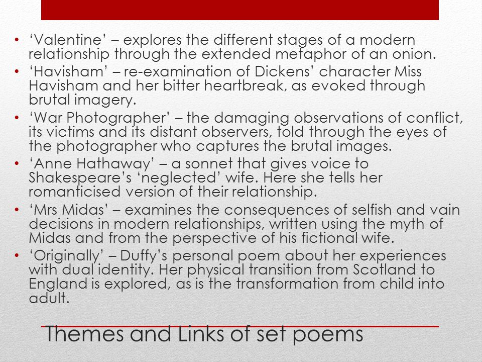 Themes and Links of set poems
