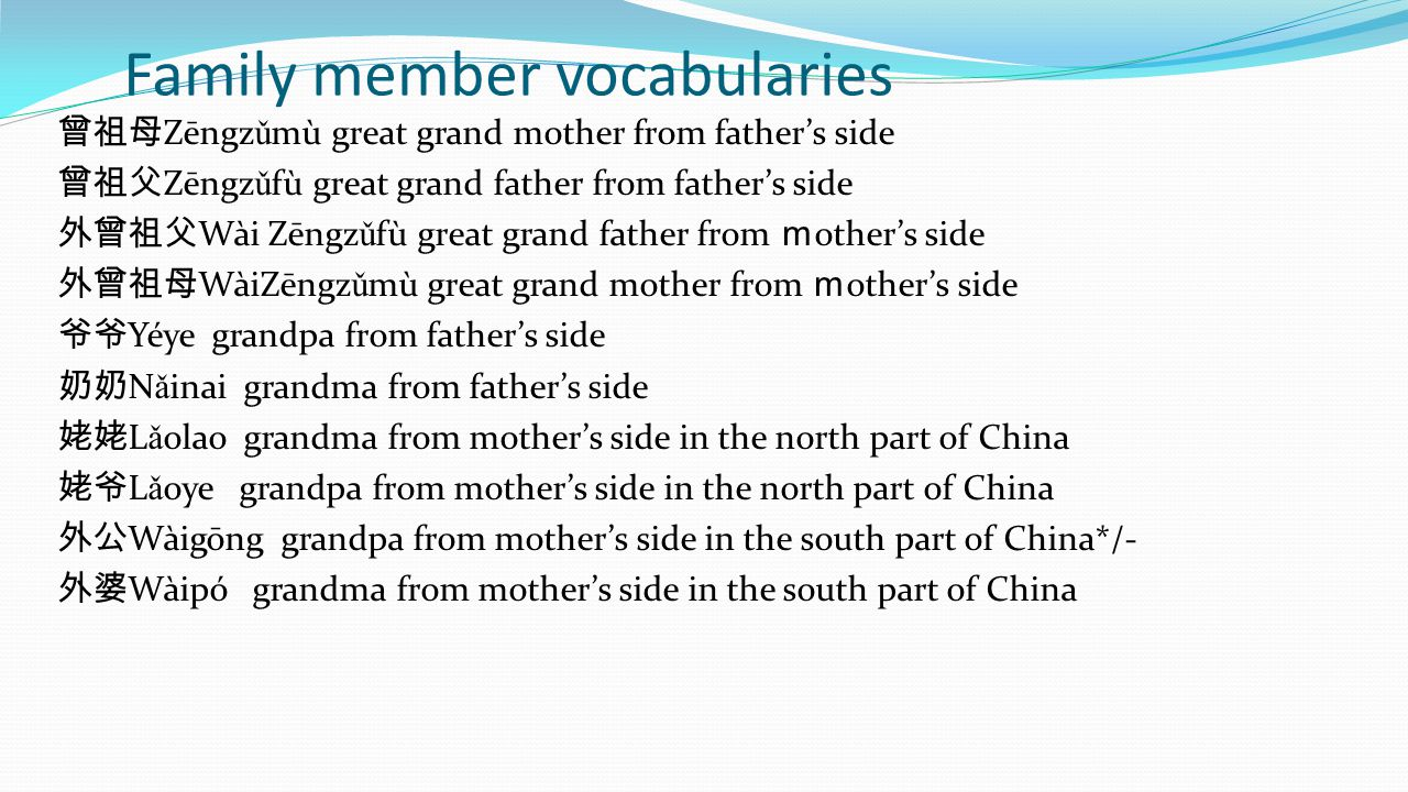 Family member vocabularies