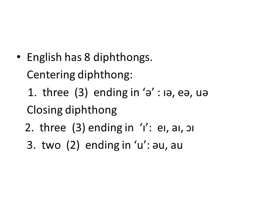 English has 8 diphthongs.