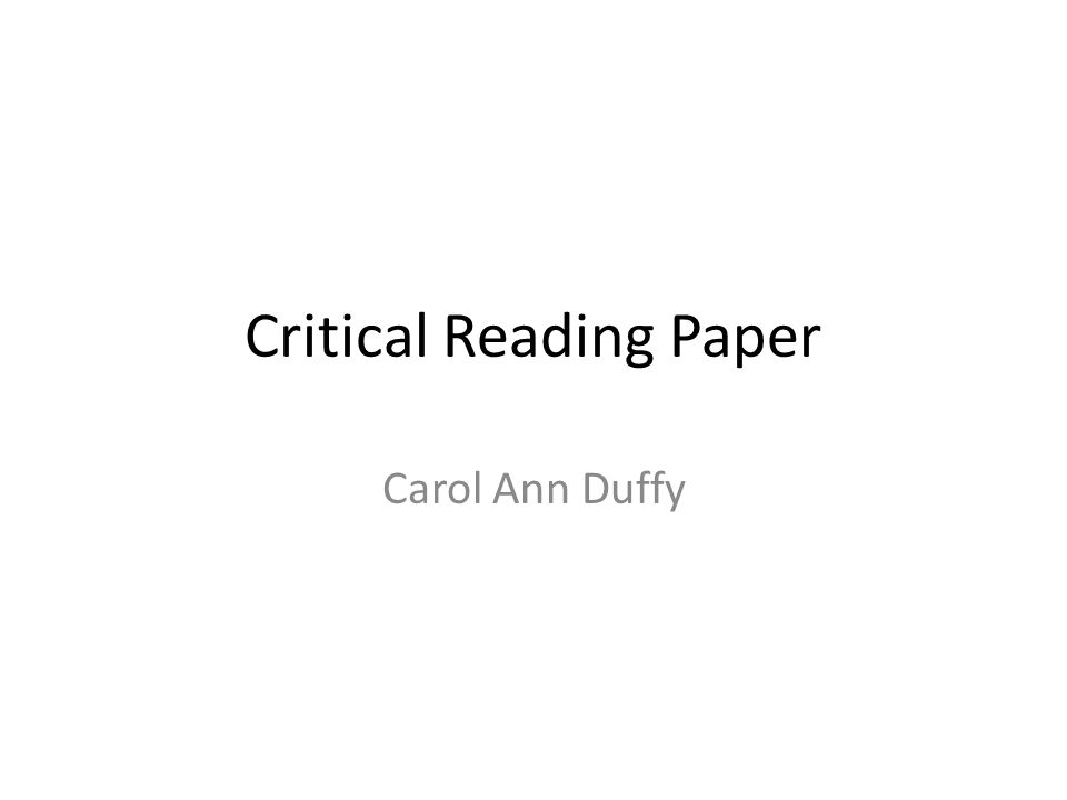 Critical Reading Paper