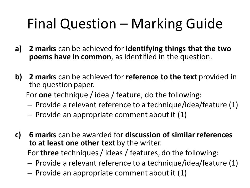 Final Question – Marking Guide