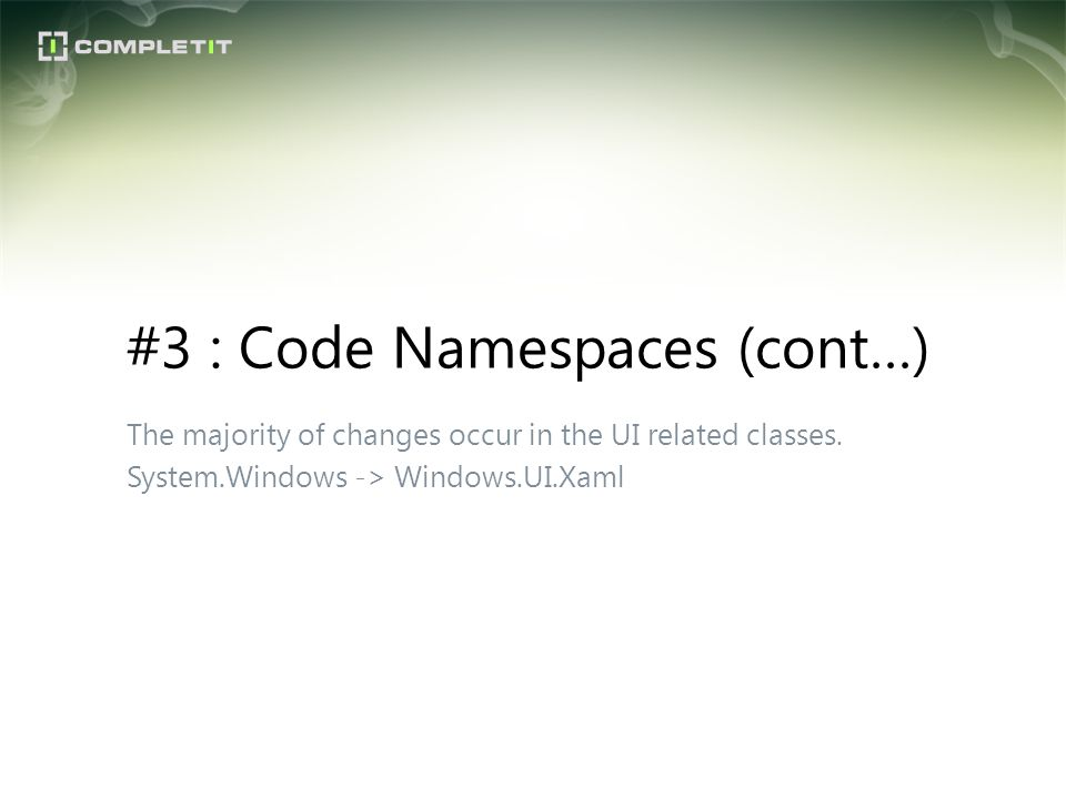 #3 : Code Namespaces (cont…)