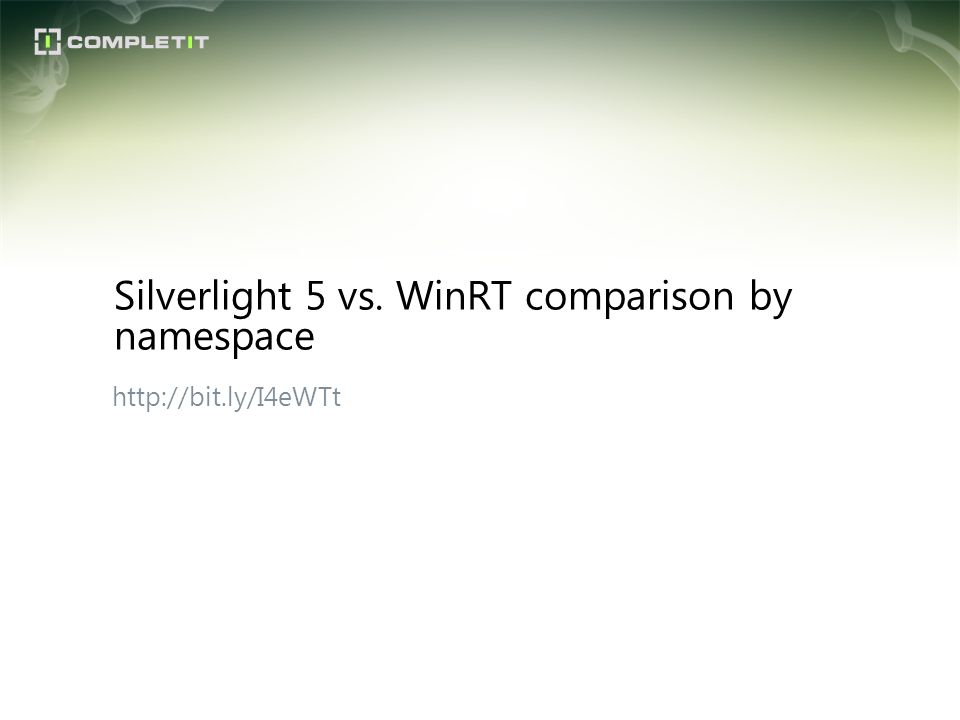 Silverlight 5 vs. WinRT comparison by namespace