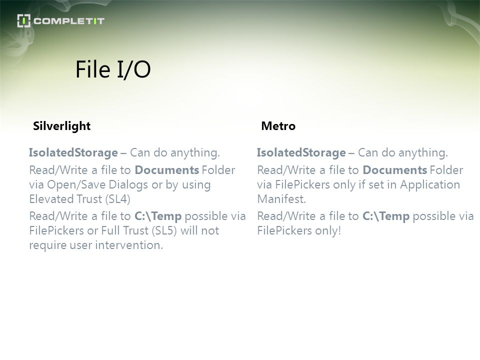 File I/O Silverlight Metro