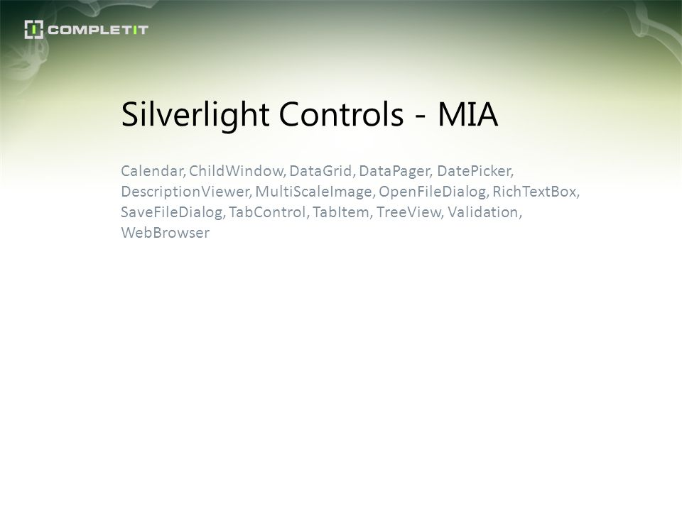Silverlight Controls - MIA