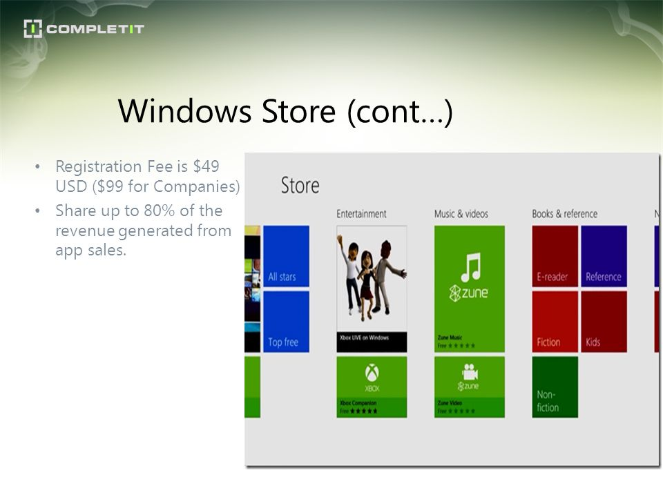Windows Store (cont…) Registration Fee is $49 USD ($99 for Companies)