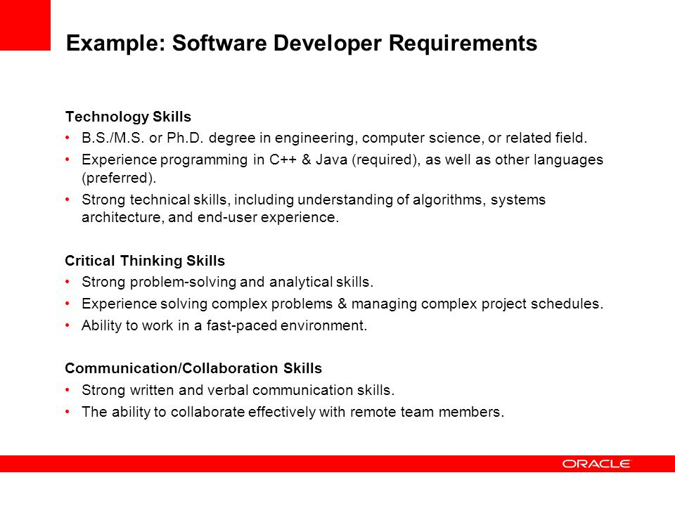 Example: Software Developer Requirements
