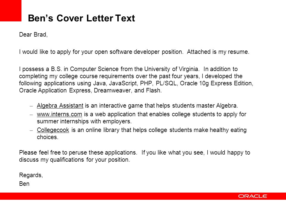 Ben's Cover Letter Text