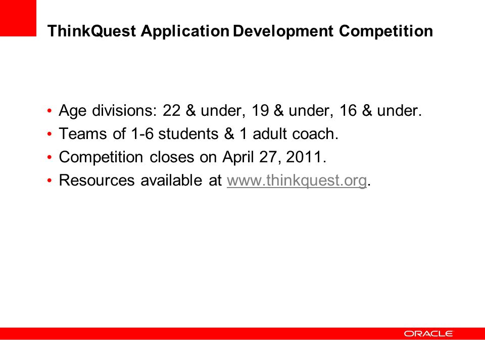 ThinkQuest Application Development Competition