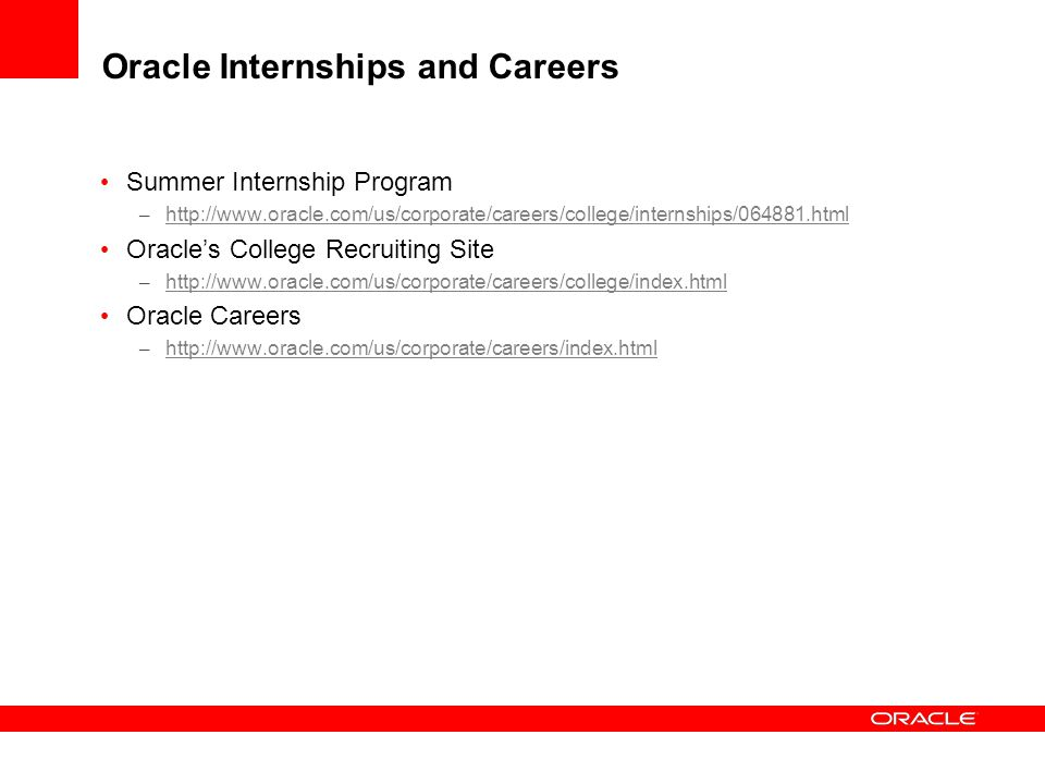 Oracle Internships and Careers