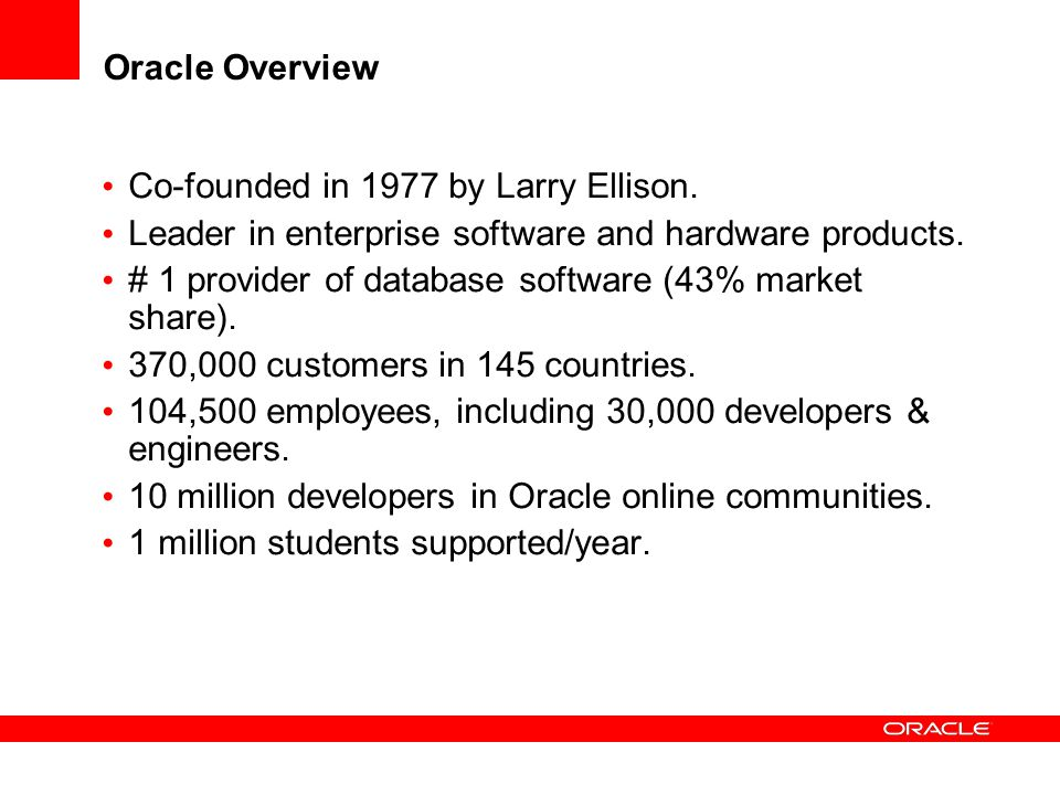 Co-founded in 1977 by Larry Ellison.