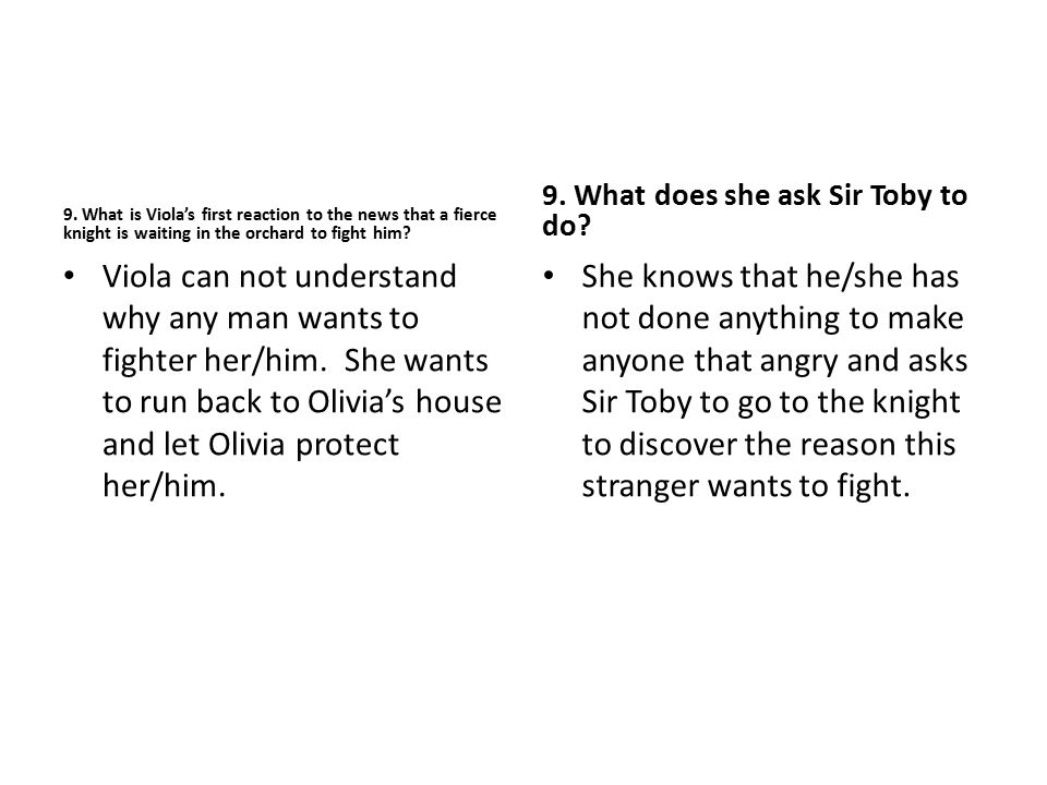 9. What is Viola's first reaction to the news that a fierce knight is waiting in the orchard to fight him