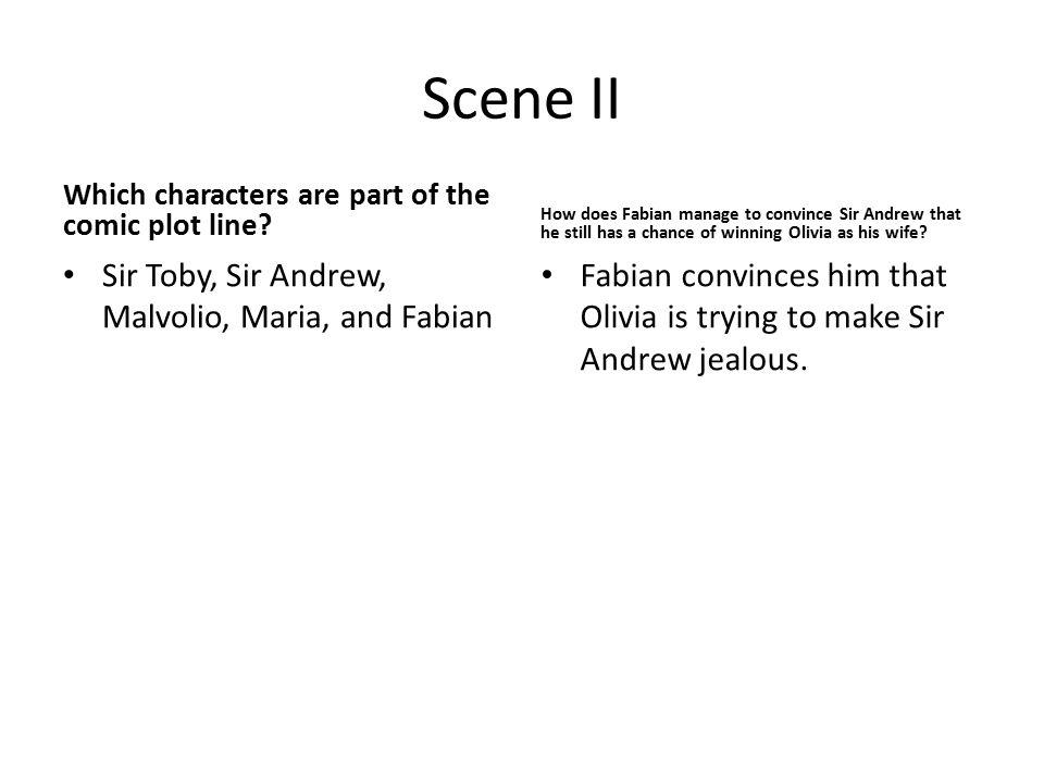 Scene II Sir Toby, Sir Andrew, Malvolio, Maria, and Fabian