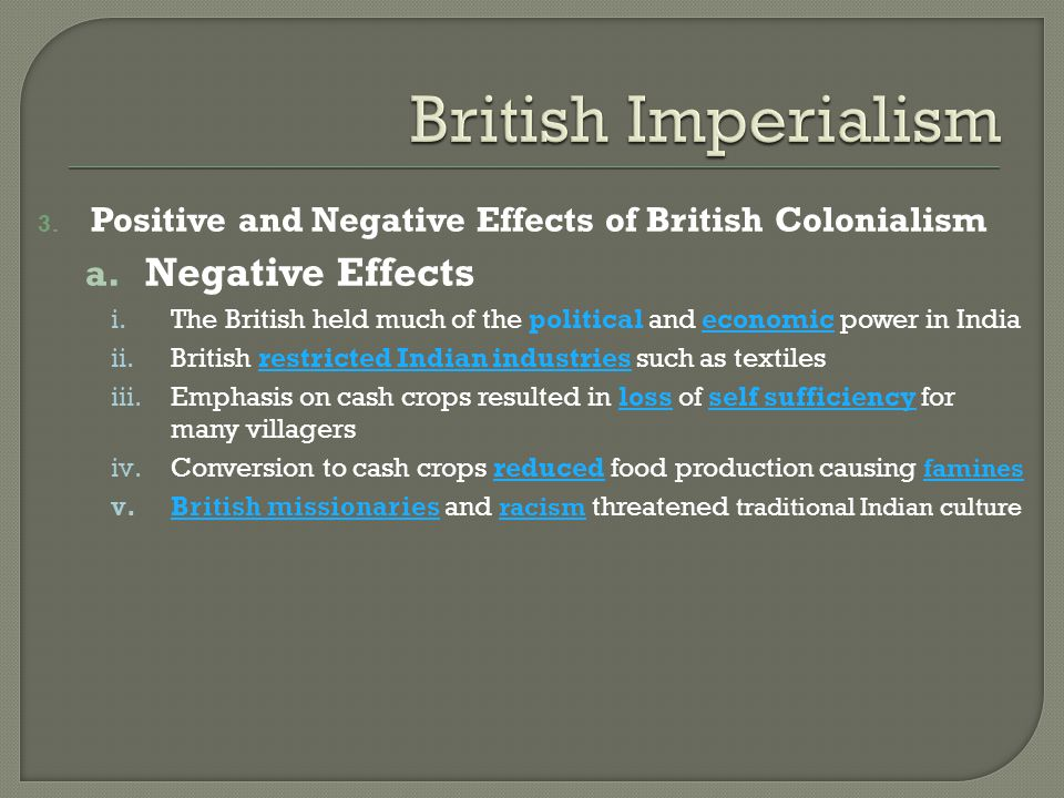 British Imperialism Negative Effects