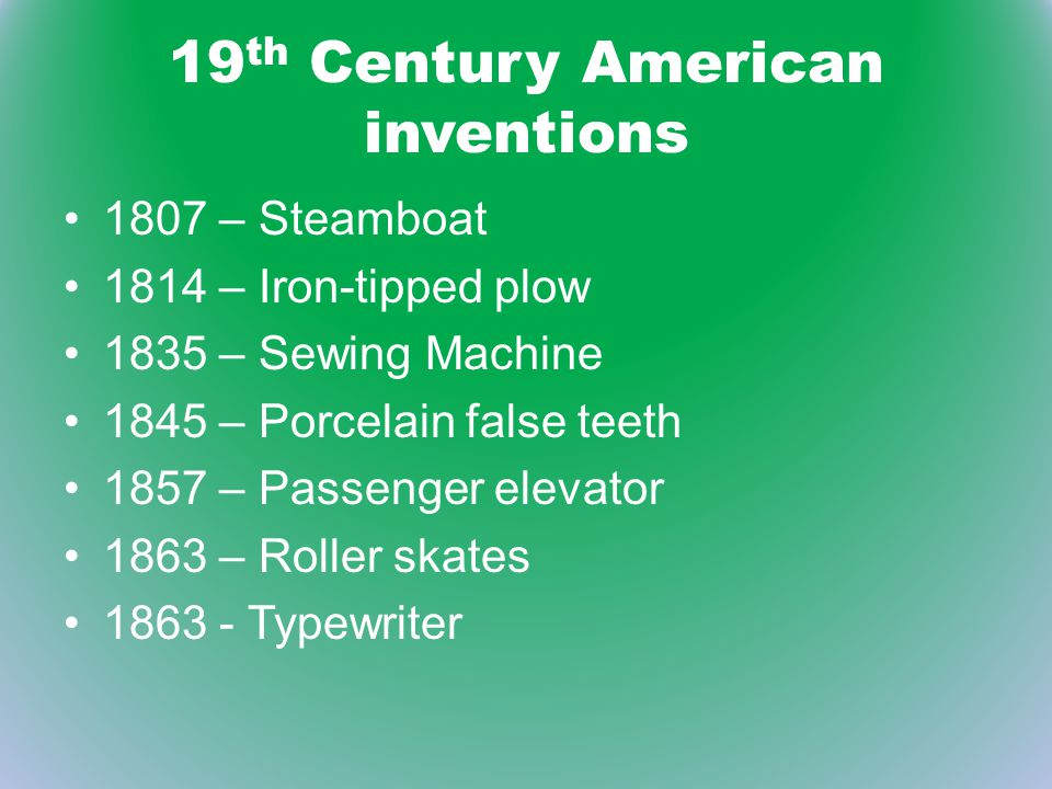 19th Century American inventions