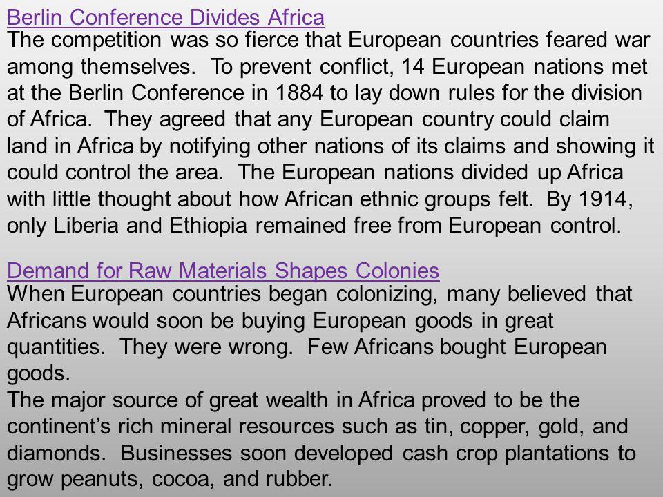 Berlin Conference Divides Africa