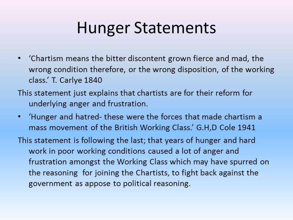 Hunger Statements