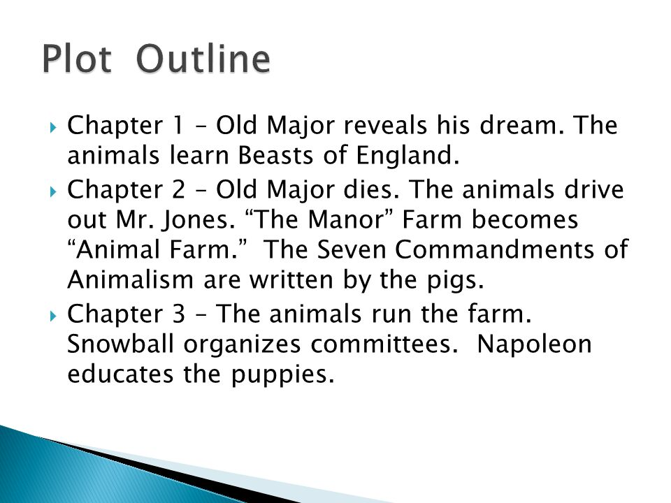 Plot Outline Chapter 1 – Old Major reveals his dream. The animals learn Beasts of England.