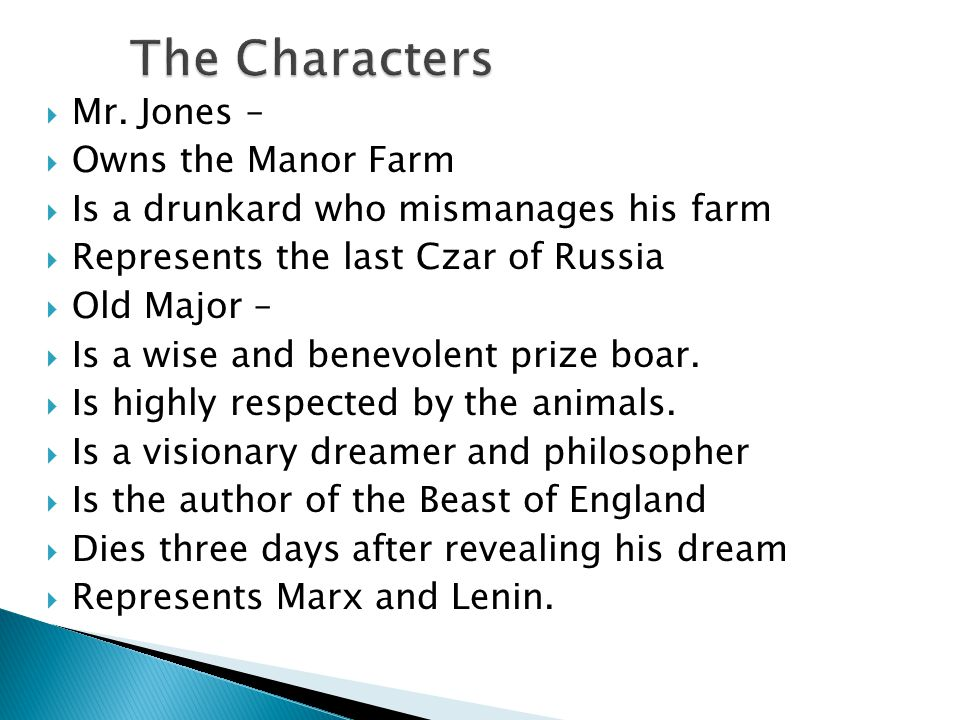 The Characters Mr. Jones – Owns the Manor Farm