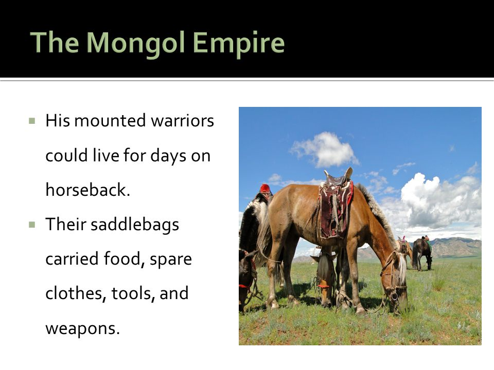The Mongol Empire His mounted warriors could live for days on horseback.