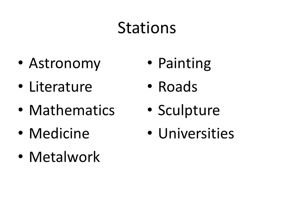 Stations Astronomy Painting Literature Roads Mathematics Sculpture