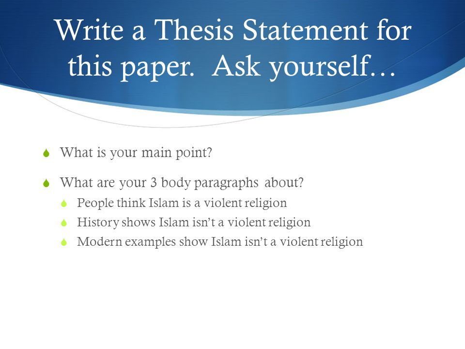 thesis statement islam Islam's challenge: jihad and terrorism  a thesis presented to the faculty of the us army  command and general staff college in partial  fulfillment of the requirements for the.