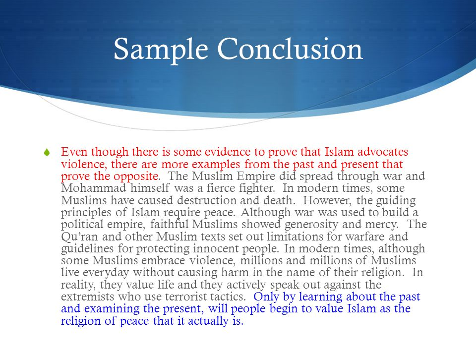 Sample Conclusion
