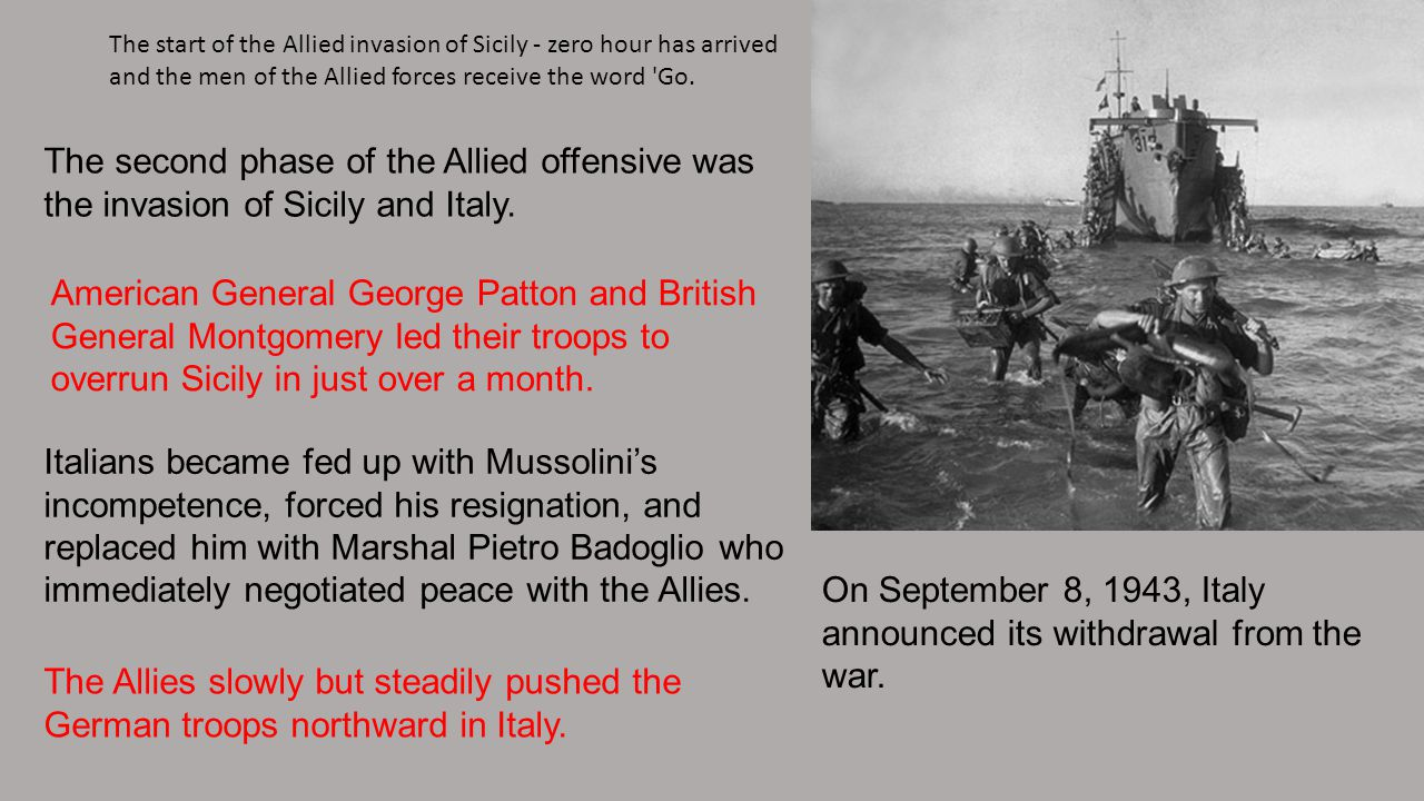 On September 8, 1943, Italy announced its withdrawal from the war.