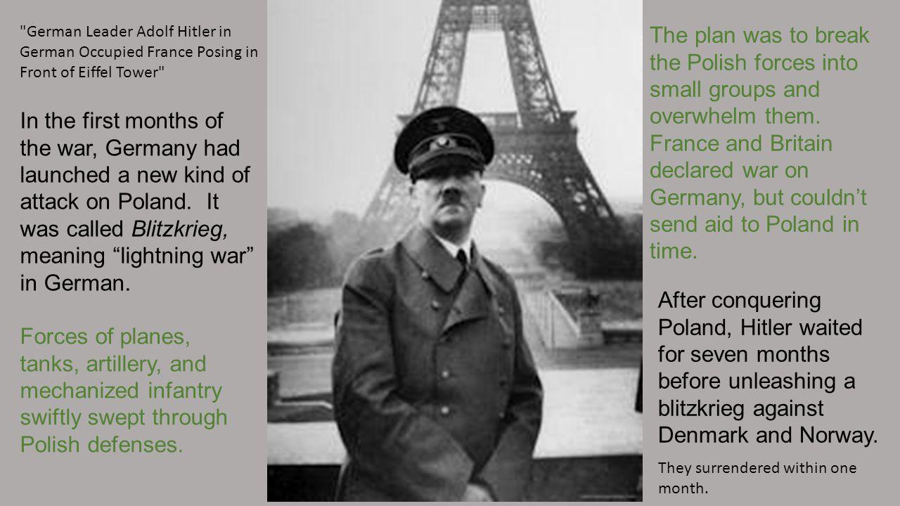 German Leader Adolf Hitler in German Occupied France Posing in Front of Eiffel Tower