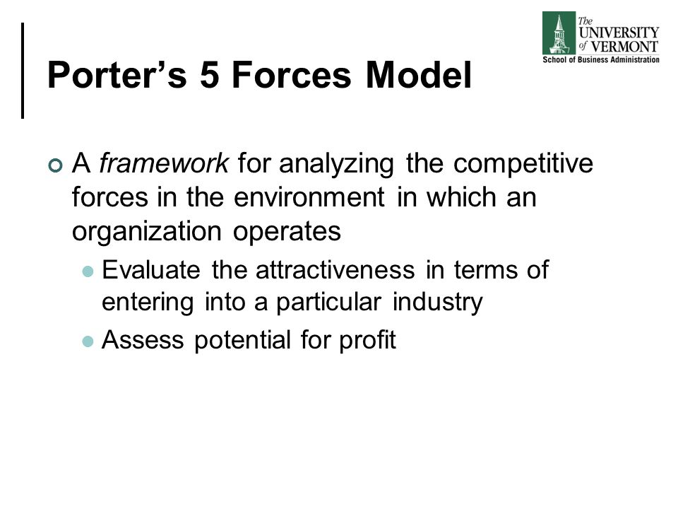 Porter's 5 Forces Model A framework for analyzing the competitive forces in the environment in which an organization operates.