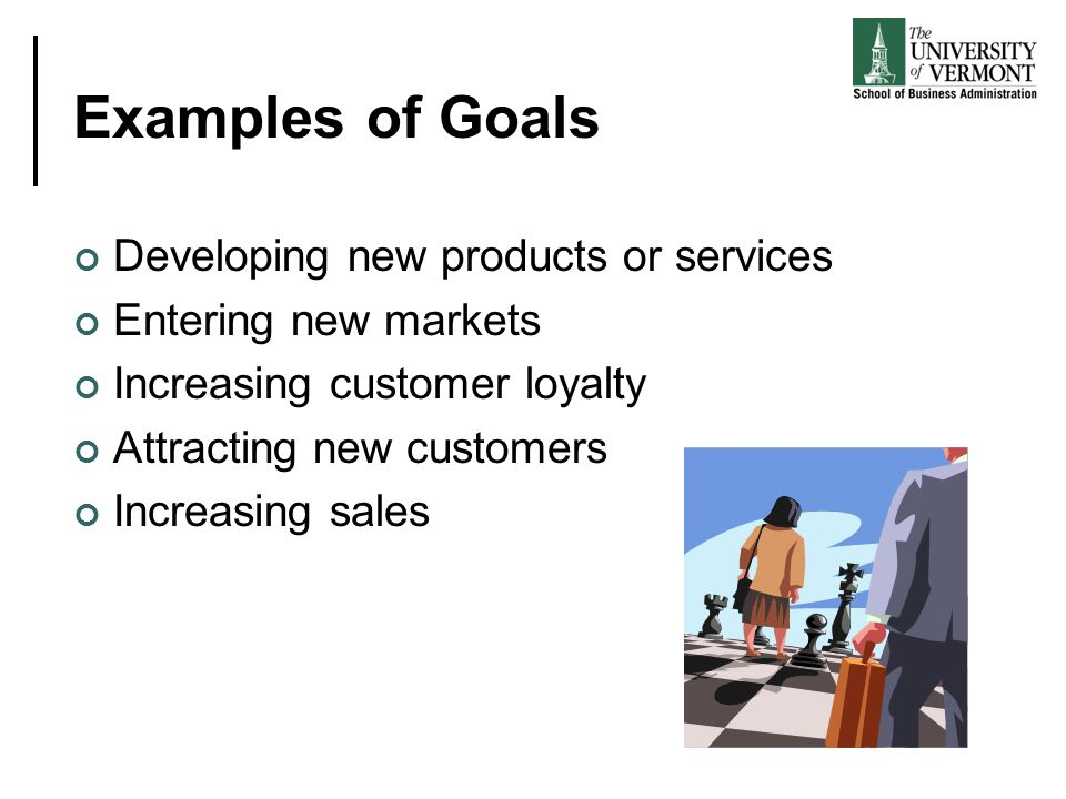 Examples of Goals Developing new products or services