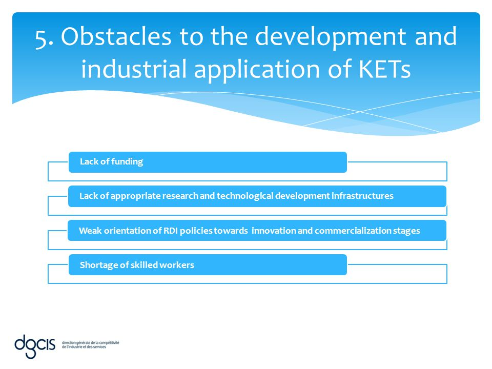 5. Obstacles to the development and industrial application of KETs
