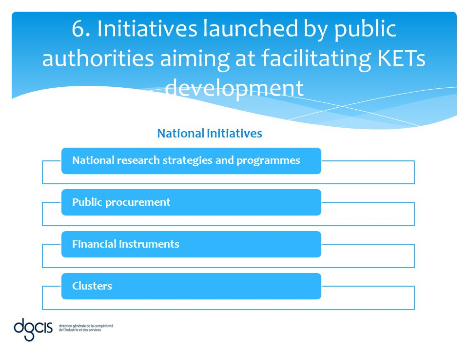 6. Initiatives launched by public authorities aiming at facilitating KETs development