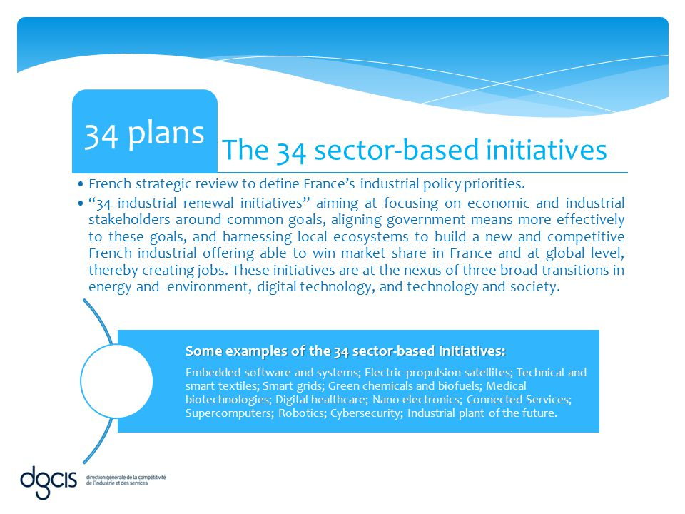 34 plans The 34 sector-based initiatives