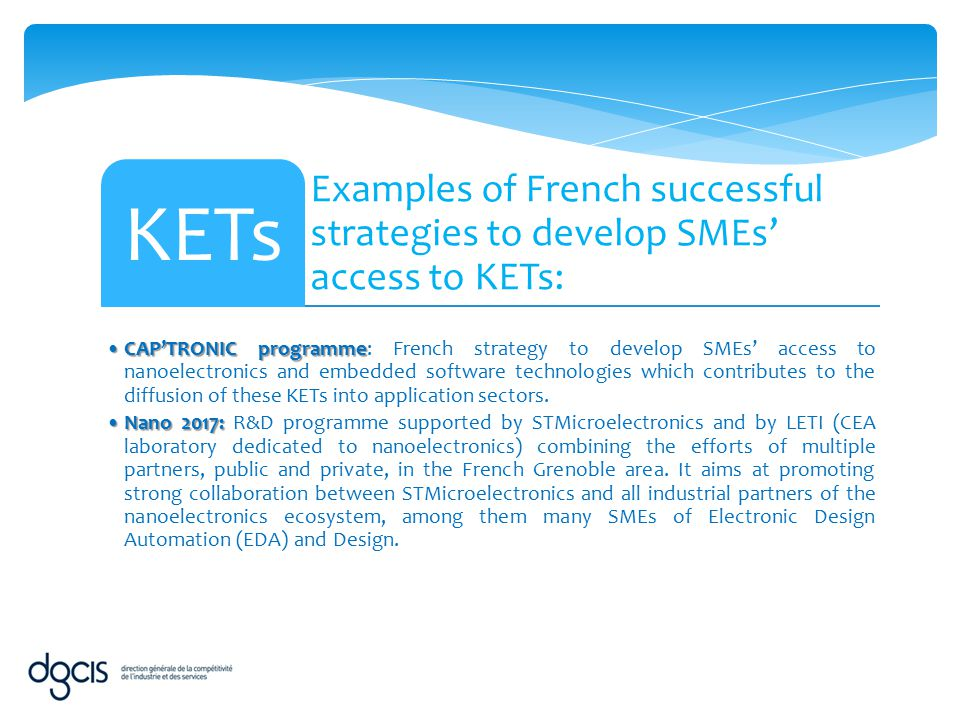 Examples of French successful strategies to develop SMEs' access to KETs: