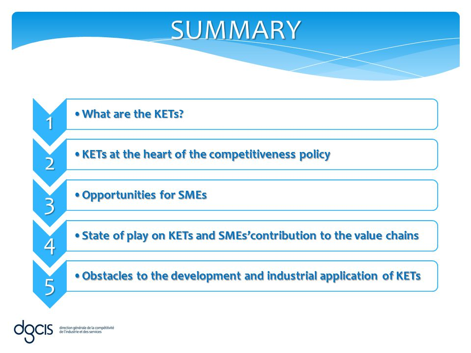 SUMMARY 1 2 3 4 5 What are the KETs