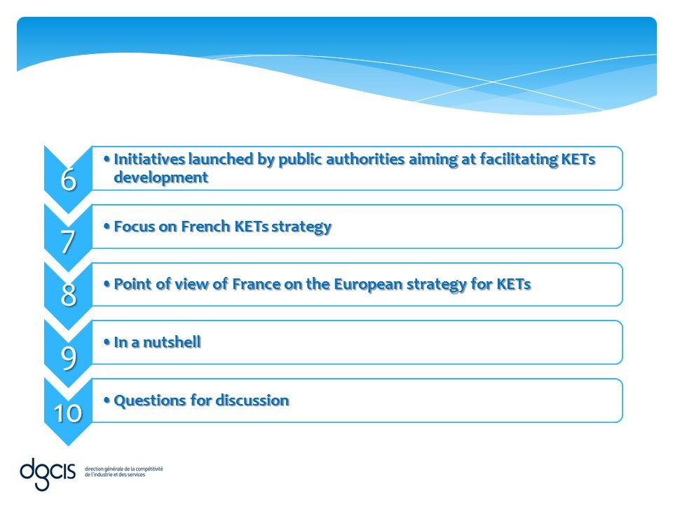 6 Initiatives launched by public authorities aiming at facilitating KETs development. 7. Focus on French KETs strategy.
