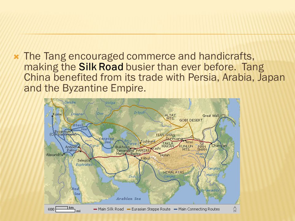 The Tang encouraged commerce and handicrafts, making the Silk Road busier than ever before.