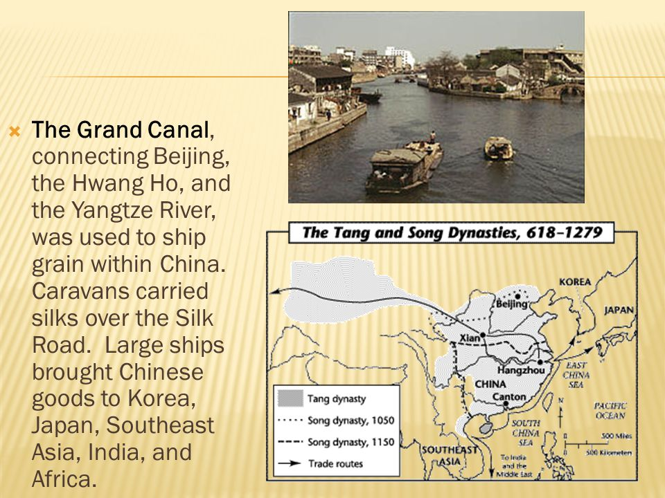 The Grand Canal, connecting Beijing, the Hwang Ho, and the Yangtze River, was used to ship grain within China.