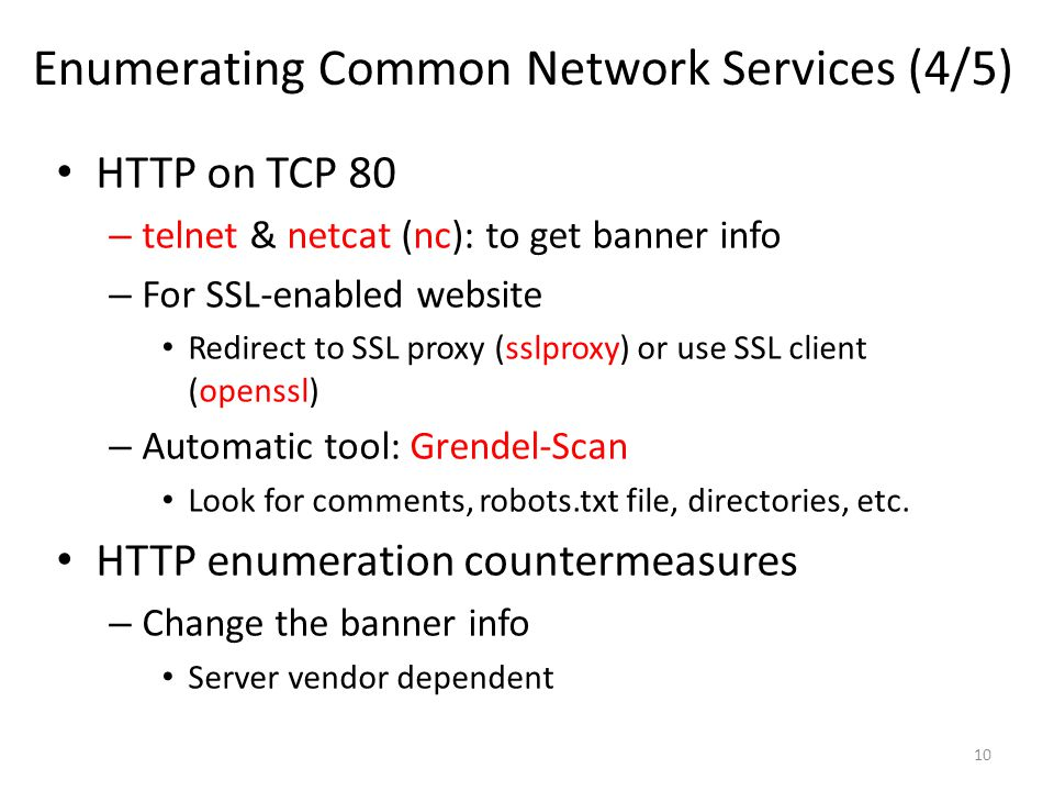 Enumerating Common Network Services (4/5)