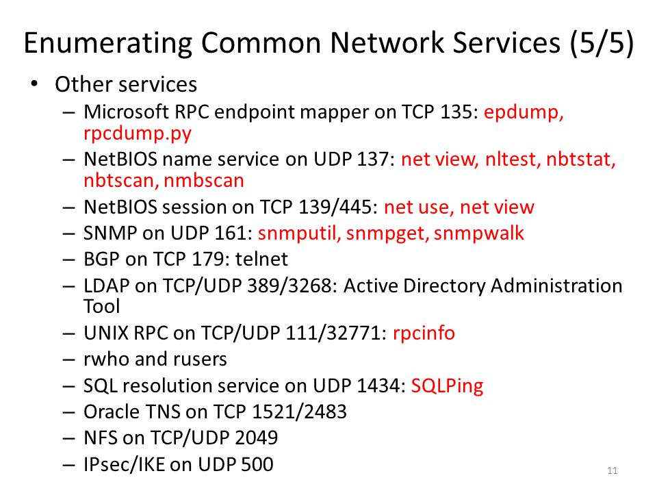 Enumerating Common Network Services (5/5)