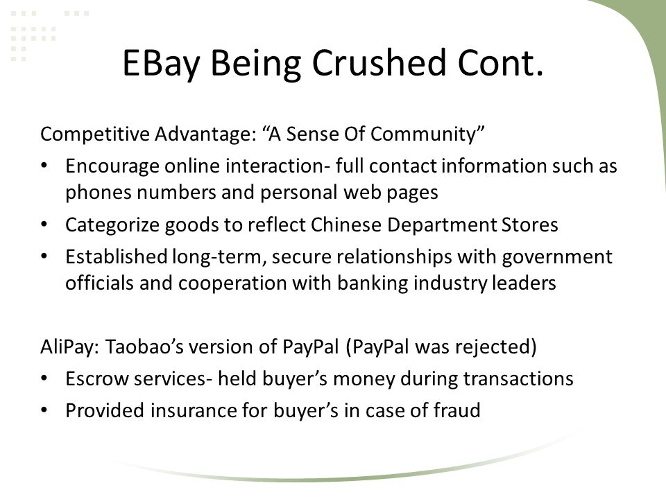EBay Being Crushed Cont.