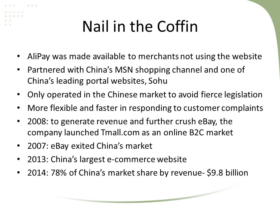 Nail in the Coffin AliPay was made available to merchants not using the website.