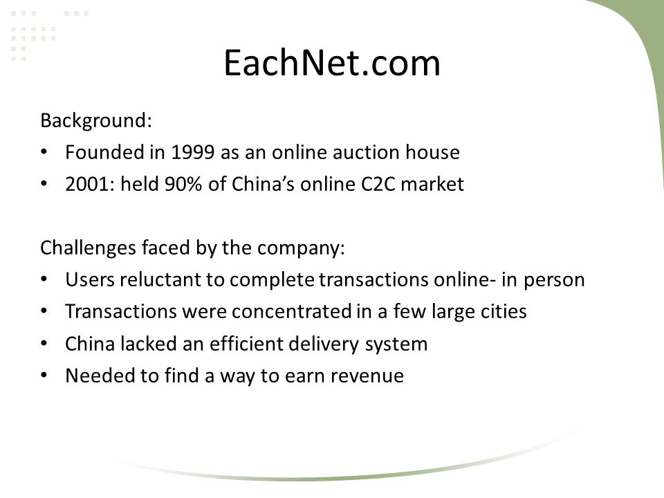 EachNet.com Background: Founded in 1999 as an online auction house