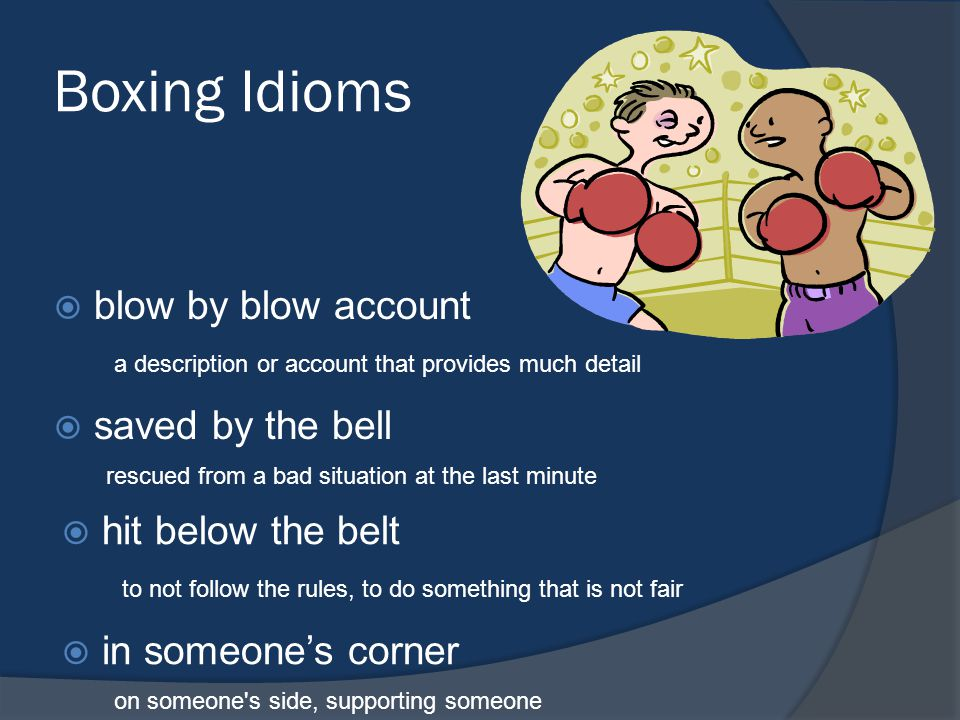 Boxing Idioms blow by blow account saved by the bell
