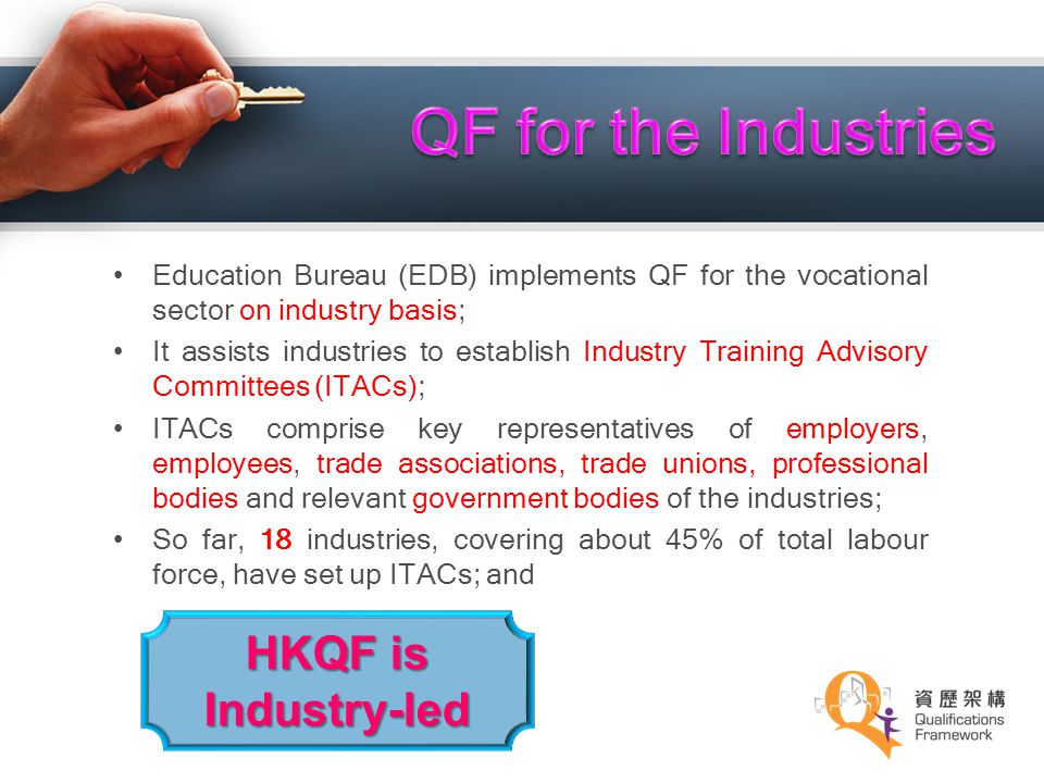 QF for the Industries HKQF is Industry-led