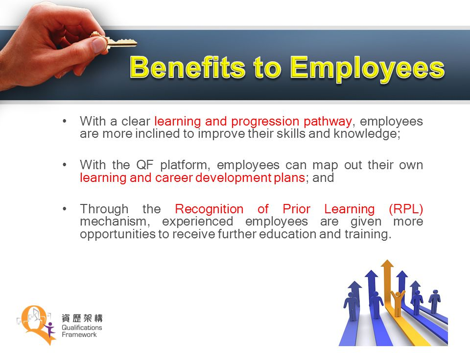 Benefits to Employees With a clear learning and progression pathway, employees are more inclined to improve their skills and knowledge;