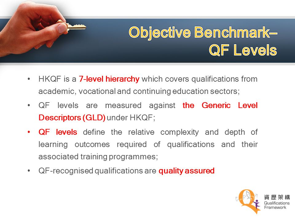Objective Benchmark– QF Levels
