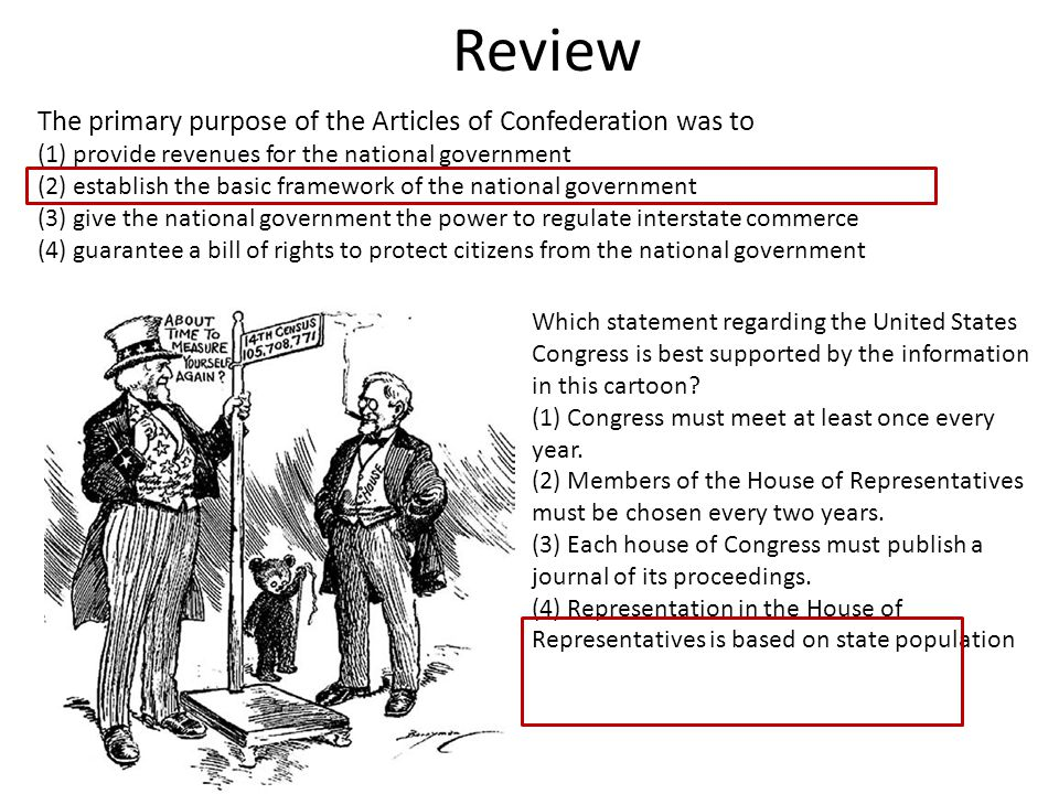 Review The primary purpose of the Articles of Confederation was to