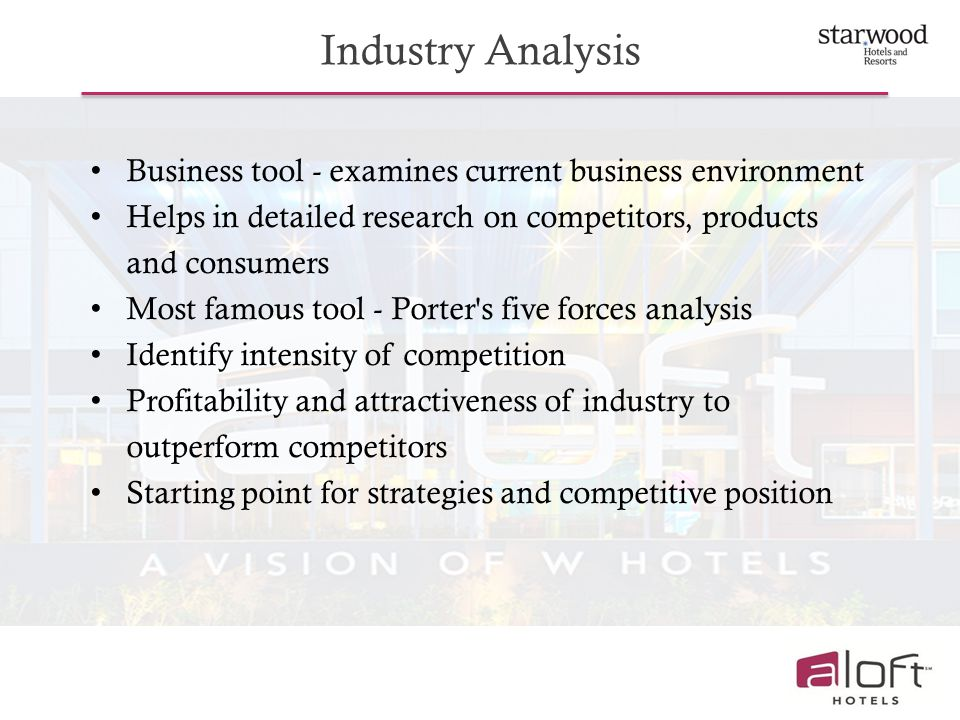 Industry Analysis Business tool - examines current business environment. Helps in detailed research on competitors, products and consumers.